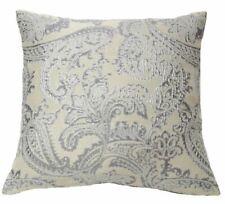 Ann Gish Arabesque Paisley Metallic Pillow - Silver & Cream
