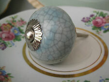 Duck-egg BLUE crackle glaze ceramic KNOB handle pull for furniture drawers doors