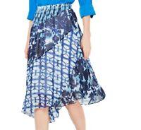 INC Women's Midi Skirt Blue Medium M Floral Shibori Tie Dye Asymmetrical $79 161