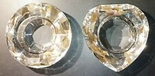 2 x Clear Crystal Glass Tealight Candle Holders Round & Love Heart Shapes