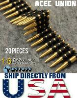ZY TOYS 1/6 Scale 7.62 Caliber 20PCS Metal Machine Bullet Chain - U.S.A. SELLER