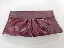 Lauren Merkin Plum Patent Crocco Print Leather Hinge Clutch Handbag
