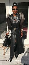 Custom Designer Full length black leather & fox Fur Vest Sleeveless Coat S 0-4