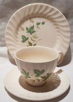 Vintage Johnson Bros Regency Swirl Trio Green Leaf Pattern Cream Ground c1960s