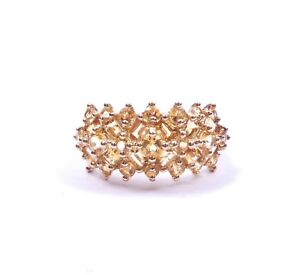 QVC Ring Citrine Cluster Eternity 9 Carat Yellow Gold 2.7g