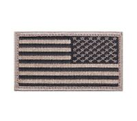 Black & Khaki (Tan) Reversed American Flag  Patch  Hook and Loop