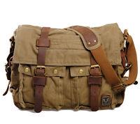 Men's Vintage Canvas Leather Military Laptop School Shoulder Messenger Bag Large
