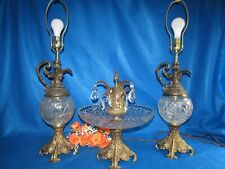 VTG L & L HEAVY CRYSTAL CENTERPIECE BOWL W CRYSTAL PRISMS & MATCHING EWER LAMPS