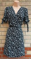 NEW LOOK BLACK WHITE FLORAL TIE SHORT SLEEVE A LINE SILKY FEEL DITSY DRESS 12 M