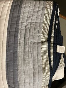 Nautica Home Tideway Collection Quilt - 100% Cotton Light Bedding TWIN Tan/Grey