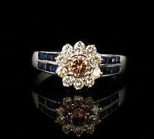 VINTAGE ESTATE NATURAL FANCY CHAMPAGNE DIAMOND & SAPPHIRE 18K WHITE GOLD RING