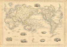 WORLD MERCATOR showing mail routes to British colonies. RAPKIN/TALLIS 1851 map