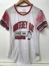 Monterey Bay Aquarium Womens T Shirt Tee Top Blue 84 Burnout White Red S Small