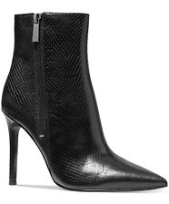 NIB Size 9.5 Michael Kors Keke Black Leather Embossed Boots $199 RETAIL
