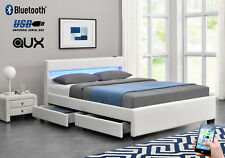 EXCLUSIVE Harmin Bluetooth White Leather LED Music 4 Drawer Storage Bed - Double