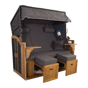 XXL 2,5-Sitzer Schwarz Strandkorb Grau Uni - NEU & OVP