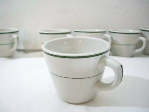 MINT NOS vintage Set of 6 COFFEE CUPS Restaurant Ware SHENANGO CHINA green