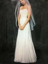 NEW WEDDING GOWN DAVID's Crinkle Chiffon Size 14 Asymmetrical Strapless Ivory