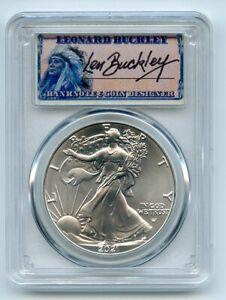 2021 $1 Silver Eagle 1oz Dollar Type 2 PCGS MS70 First Strike Leonard Buckley