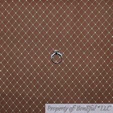 BonEful FABRIC FQ Cotton Decor Brown Cream Tan Diamond Check Dot Stripe Gingham