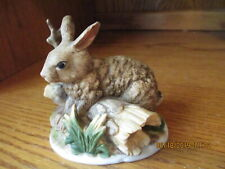 Homco #1411 Rabbit Resting on a Hollow Log Figurine W/ Sticker Excellent