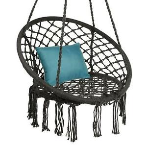 Bohemian Hanging Chair Swing Handwoven Cotton Macrame Hammock with Backrest New