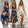 UK Womens Holiday Plunge Ladies Maxi Long Summer Print Beach Dress Size 6-14