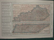 1926 MAP ~ KENTUCKY TENNESSEE COUNTIES PRINCIPAL CITIES SMITH GREENE LEWIS CLAY
