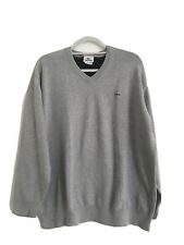 lacoste Gray Men Knit Sweater V Neck 8 Jumper Polo