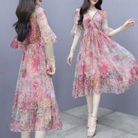 women Floral chiffon dress women show thin waist fashion temperament fairy dress