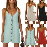 Women Summer Cami Sleeveless Strap Botton Plain Party Club Boho Beach Mini Dress
