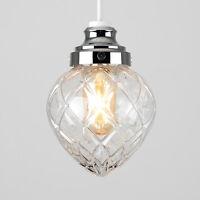 Modern Chrome Crystal Effect Glass Easy Fit LED Ceiling Light Shade Pendant Bulb