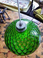 Luminaire suspension boule verre coloré début 20ème