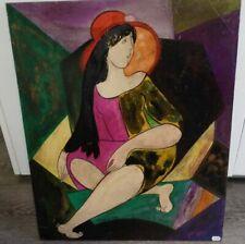 Linda Le Kinff  huile sur panneau  Original Cubisme Femme Mlle de Pomoré