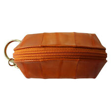 Genuine Eel Skin Leather Zippered Small Coin Purse with Key Ring Mini Wallet