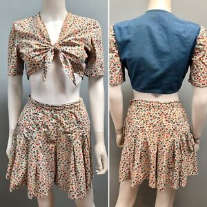 VTG 1930s FEEDSACK Fabric PLAYSUIT Short Set MIDRIF TIE FRONT TOP Chambray Back