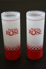Pair of TEQUILA ROSE Frosted & Red Shot Glasses Bar Drinking Barware
