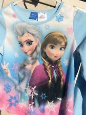 Disney Girls Two Piece Pajamas Set Frozen Blue Flannel Top / Bottom Size 10-12