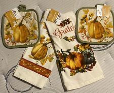 Women Owned ~Set of 2~ Kitchen Dish Towel & Pot Holder Pumpkins/Autumn/Fall-New!