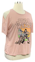 STAR WARS size XL juniors pink short slv cold shoulder crew neck graphic T-shirt