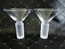2 New Age Martini Glasses Chunky Frosted Stems by Artland Exc Cond