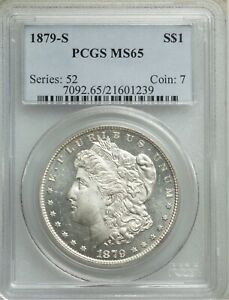 U.S. 1879-S MORGAN SILVER DOLLAR GEM BRILLIANT UNCIRCULATED PCGS CERTIFIED MS65