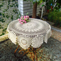 White Flower Crochet Tablecloth Cotton Lace Table Cloth Cover Floral Doily