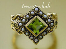 Peridot White Solitaire with Accents Fine Rings