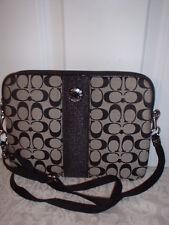 NWT Coach Signature Stripe Tablet Crossbody Ipad  Messenger Bag 63219 Black