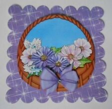PACK 2 LILAC FLOWER BASKET EMBELLISHMENT TOPPERS FOR CARDS AND CRAFTS