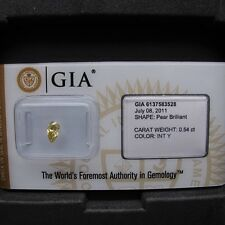 GIA Cert 0.54ct Pear cut diamond NATURAL FANCY INTENSE YELLOW.   SEALED.