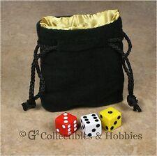 NEW Small Black Velvet RPG Dice Bag YELLOW GOLD Satin