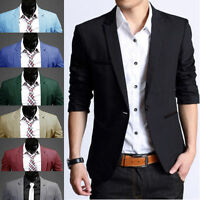 Men Fashion Slim One Button Suit Casual Coat Jacket Top Wedding Cocktail Party