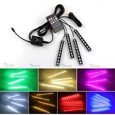 4pc 9 LED 7 Colors RGB Wireless Music Control LED Strip Lights Car Interior Kit